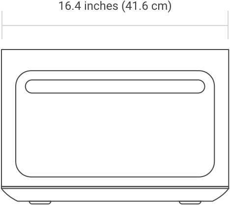 Oven front diagram with width measurement of 16.4 inches (41.6cm)