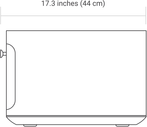 Oven side diagram with width measurement of 17.3 inches (44cm)